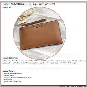 Michael Kors Jet Set Large Leather  Zip Clutch